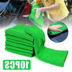10Pcs Green Micro Fiber Auto Car Detailing Cleaning Soft Clo