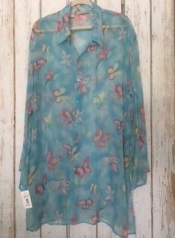 1X/2X New Blue Silk Aqua Butterflies Duster Kimono Bathing S