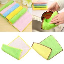 2pcs Dishcloth Microfiber Kitchen Duster Cloth Dishwashing C