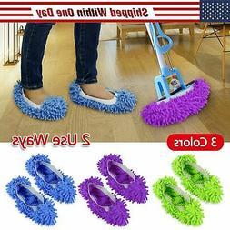 2Pcs Mop Slippers Lazy Floor Foot Socks Shoes Quick Polishin