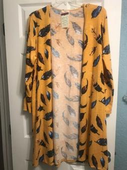 ODDY 2X Mustard Yellow & Navy Cardigan Duster NWT, Feathers,