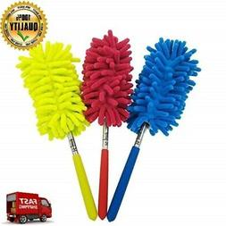 Set Of 3 Retractable Long Reach Microfiber Hand Duster Brush