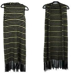RXB Black Gold Metallic Striped Sleeveless Duster Cardigan S