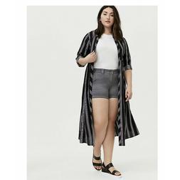 torrid Black Multi Stripe Challis Duster Shirt Kimono Size 1