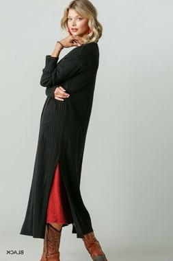 Umgee Black Ribbed Knit Long Sleeve Duster Cardigan Sweater