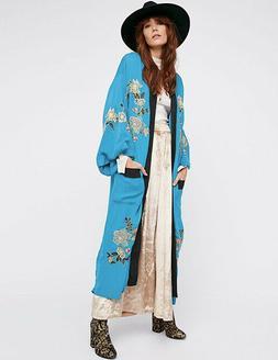 Blue Blk Trim Embroidered Pockets Duster Cardigan Coat Kimon