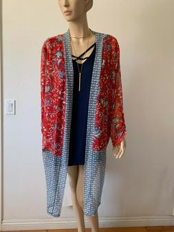 AVENUE BLUE RED FLORAL NAVY TANK TOP MESH BOHO CARDIGAN DUST