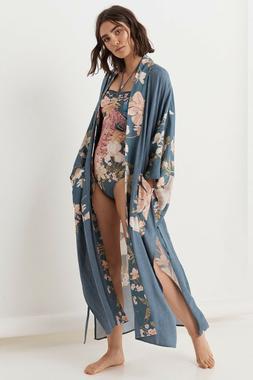 Boho Vintage Blue Gypsy Floral Peacock Maxi Duster Kimono Ca