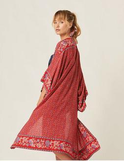 Boho Gypsy Red Sunflower Maxi Kimono Duster Cardigan Coverup