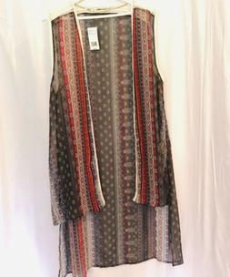 Hippie Laundry Boho High-Low Sheer Kimono/Duster