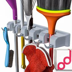 Berry Ave Broom Holder and Garden Tool Wall Mount, Organizer