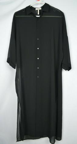 Laundry by Shelli Segal Black Sheer Duster 6 3/4 Sleeve Maxi