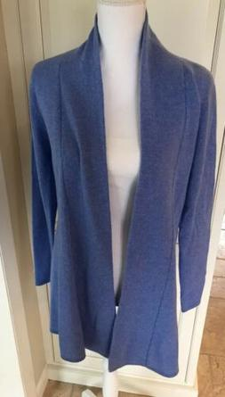 Cashmere Long Cardigan Duster Sweater Periwinkle Blue NWT M