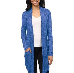 Womens Casual Open Front Drape Cardigan KSKW31127 Cobalt Blu