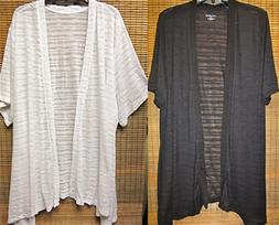 CATHERINES' Short Sleeve Duster Long Top Cardigan 0X 14/16,