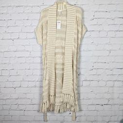 Chico's Cream & Gold Foil Connie Cable Vest Duster Cardigan