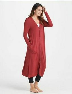 Cuddl Duds Chili Red Softwear Stretch Knit Maxi Button Front