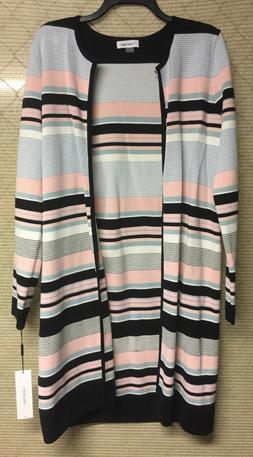 Calvin Klein Colorblock Cardigan Black Pink Blue Multi Size