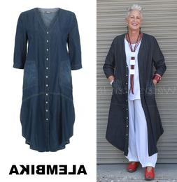 ALEMBIKA  D541 100% Cotton  DOCENT DRESS Duster Layering XS
