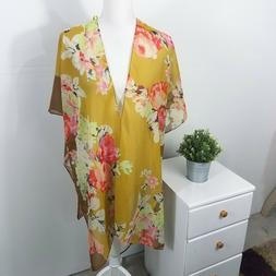 David And Young Nordstrom Women's NWT Yellow Floral Kimono D