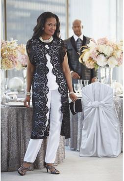 Dress Lace Duster Pant Set Suit Black White Ashro 3 Piece Wh