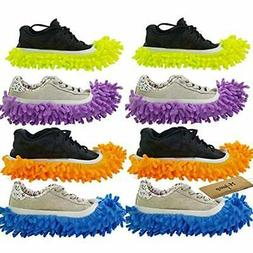 Dust Mops & Pads M-jump 8 PCS 4 Pairs Duster Slippers Shoes