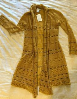 Soft Surroundings Duster Cardigan Sweater Gold/Mustard Women