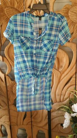 FRENCH LAUNDRY Duster Tunic Top Plaid Front Tie Hi-Low Chiff
