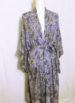 dusty blue gypsy floral paisley maxi duster