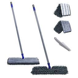 "Flat Mop with 2 Mop Pads Double Sided 16.8"" Hardwood Floor D"