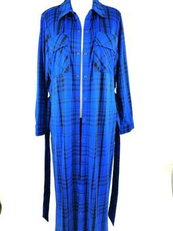 G.I.L.I. Womens Peached Knit Cobalt Blue Plaid Duster with P