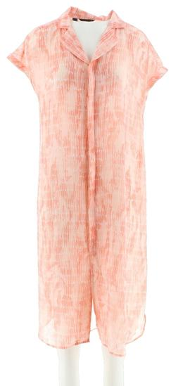 H Halston Extended Shoulder Button Front Duster Coral Reef M