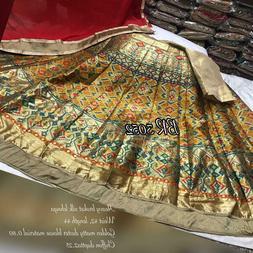 Heavy broket silk lehnga golden maty duster blouse pic chiff
