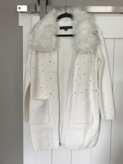 BOSTON PROPER IVORY Fur Collar Pearl CARDIGAN DUSTER SWEATER