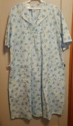 J&E Talit Open Snap Back Nightgown Floral Duster Sz 2XL Home