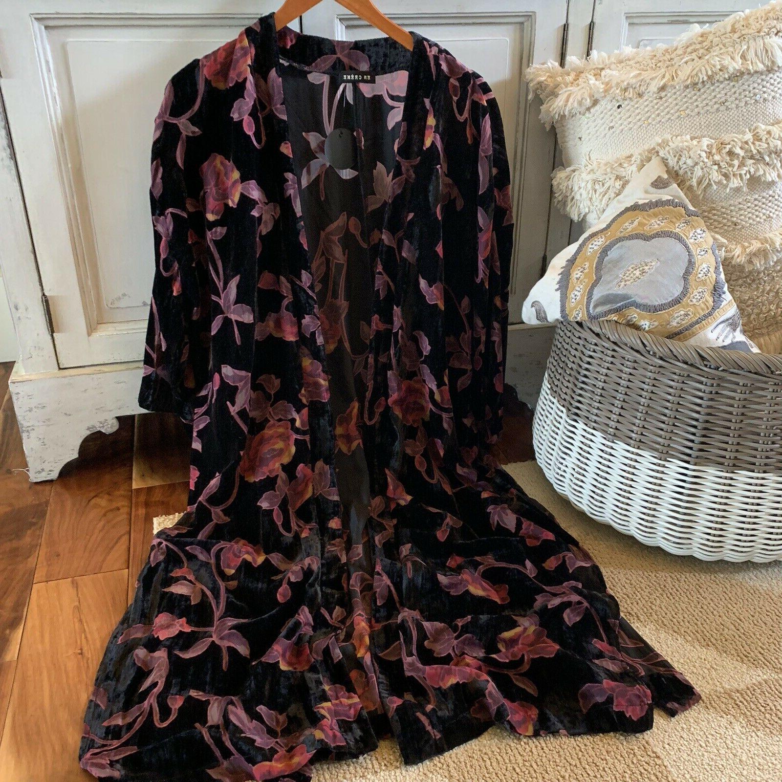 2X NWT Boutique Size Black Long Maxi Kimono Duster Jacket Top