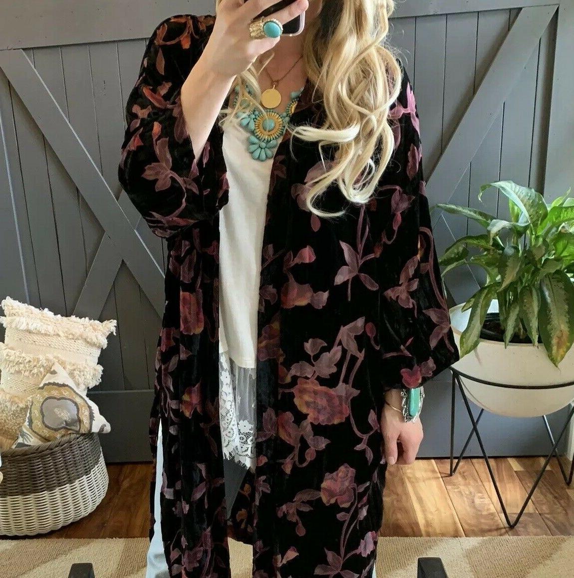 2X NWT Boutique Plus Size Black Velvet Maxi Kimono Duster Top