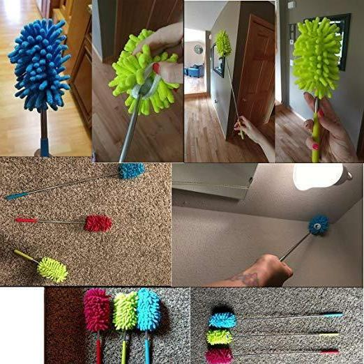 Set 3 Retractable Long Microfiber Duster Brush Cleaning