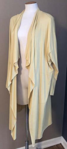 Comfy USA Artsy Draped Long Duster Cardigan Shrug  L Yellow