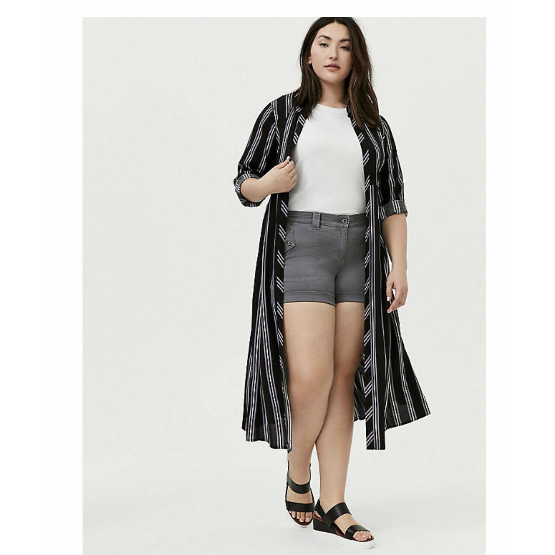 black multi stripe challis duster shirt kimono