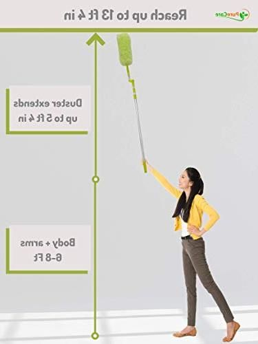 Pure with Extension Pole, High Reach, Washable, 360 Degree Large for Fast Cleaning