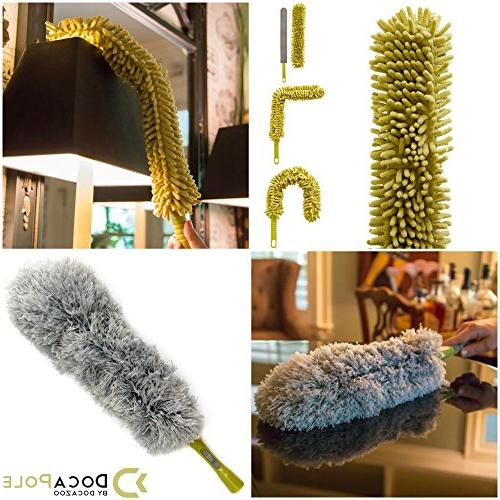 DocaPole 20 High Reach 5-12 Foot // 3 Dusting Attachments // Cobweb Duster Duster