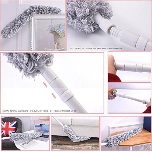 """Best Duster with Extension - 70"""", Flexible, Bendable, Extendable Ceiling Hypoallergenic Large Microfiber - Wet or Use"""