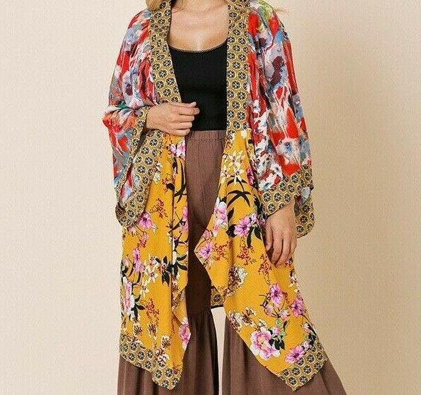 New Umgee Cardigan Floral Peasant Size