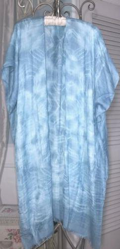 NEW~ Plus Size 3X 2X 1X  XL Blue White Tie Dye Open Duster T