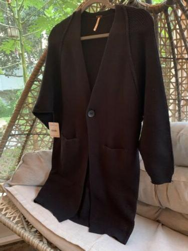 NWT $128 FREE Black Maxi Cardigan Duster Long XS Button Pockets Ribbed