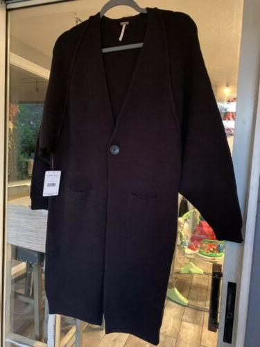nwt 128 black maxi cardigan duster long