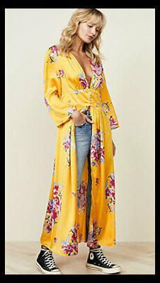 NWT Free People Alexa Duster Sunflower Yellow Floral Kimono
