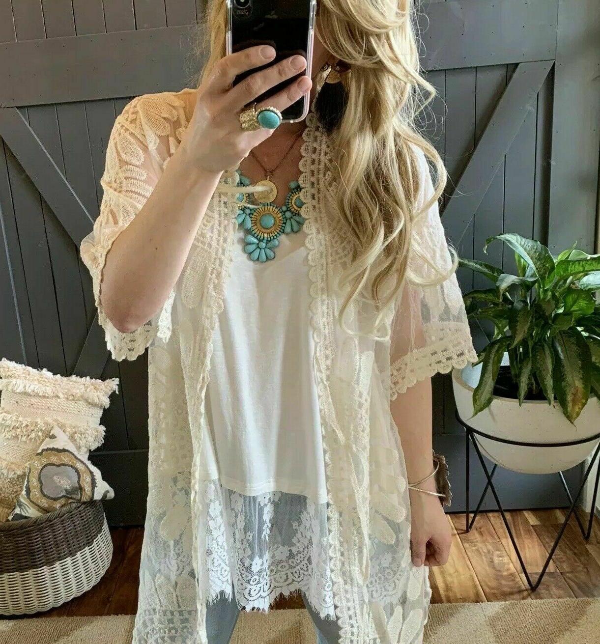 NWT Womens Lace Kimono Jacket Plus M 2X