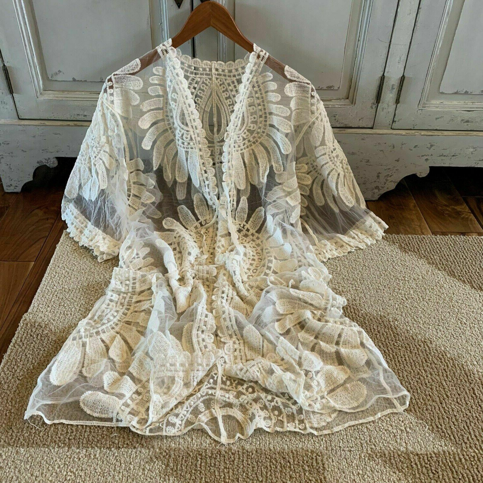 NWT Womens Ivory Eyelet Lace Duster Jacket Plus M to